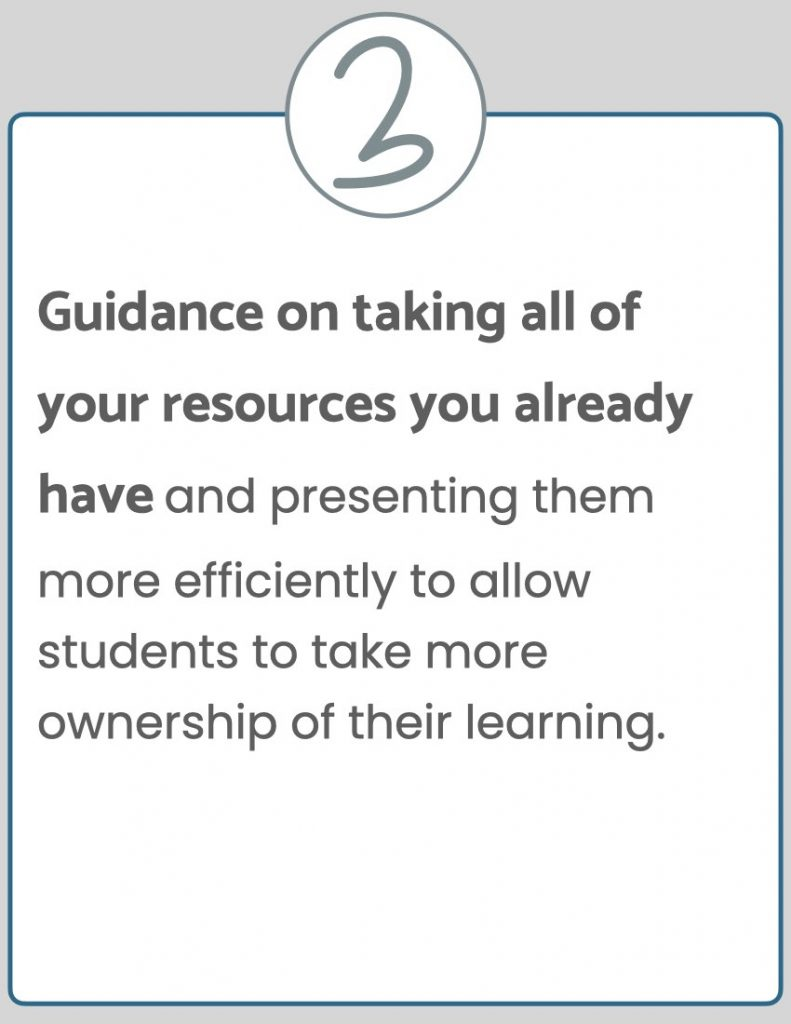 Guidance on taking all of your resources you already have and presenting them more efficiently to allow students to take more ownership of their learning.