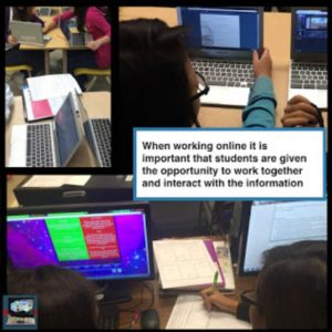 When working online in the In the blended learning station rotation model, it is important that students are given the opportunity to work together and interact with the information