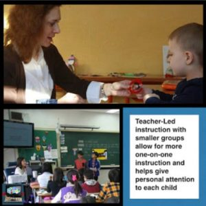In the blended learning station rotation model, the teacher-led instruction station with smaller groups allow for more one-on-one instruction and helps give personal attention to each chilc