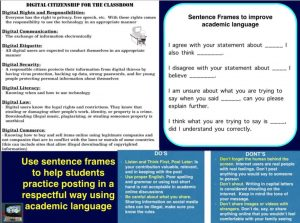 use sentence frames to help students post as digital citizens