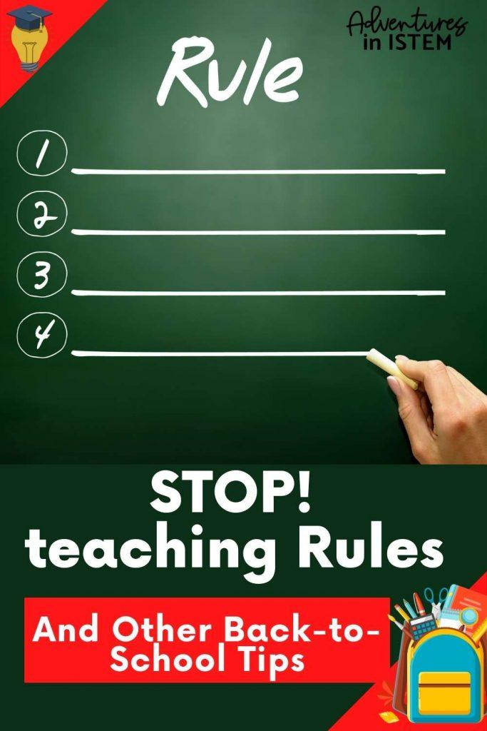 first week of school tip, stop teaching rules